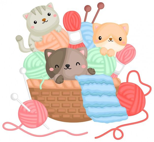 Un vector de gatos jugando con hilos en una canasta. vector gratuito