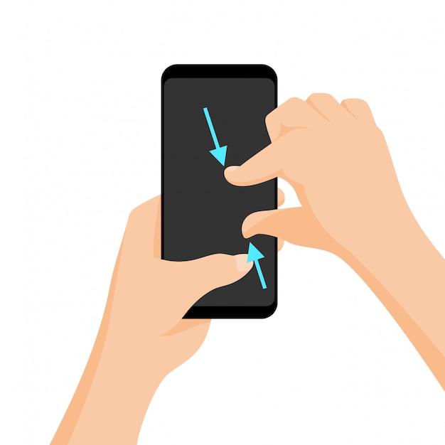 Vector de gestos multitáctiles para tabletas y smartphone. Vector Premium
