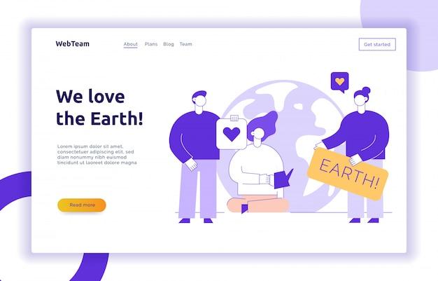 Vector guardar la plantilla de diseño de banner de página web de planeta Vector Premium