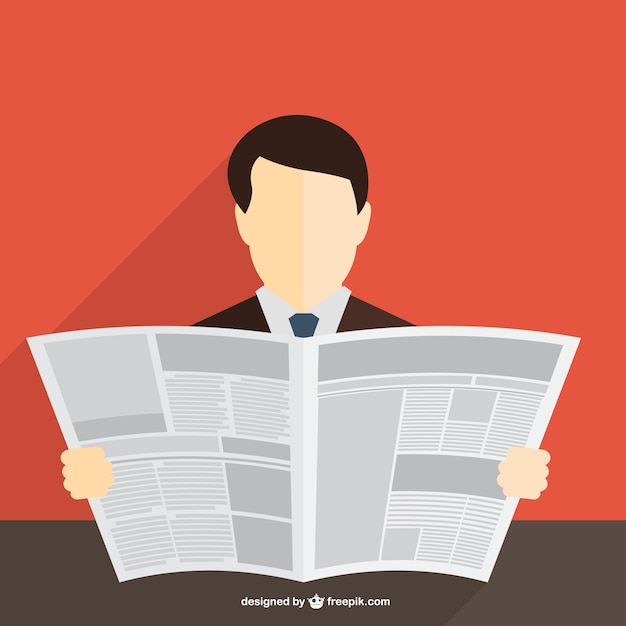 Vector hombre leyendo el periódico vector gratuito
