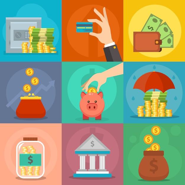 Vector de iconos de dinero establecido. Vector Premium