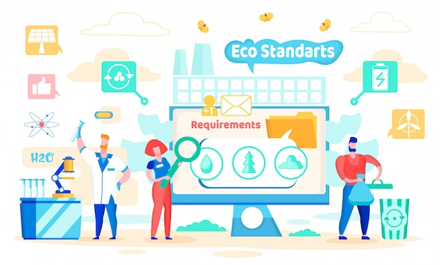 Vector illustration eco standards cartoon flat. Vector Premium
