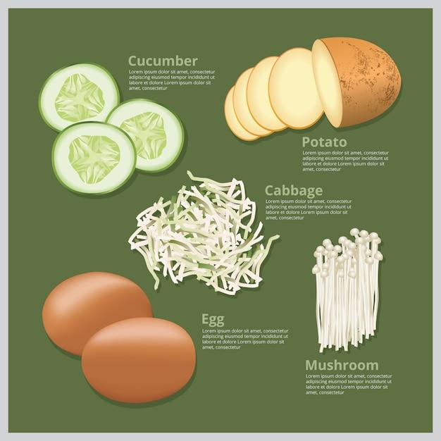 Vector illustration ingredient food Vector Premium