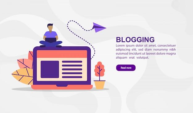 Vector ilustración concepto de blogging. ilustración moderna conceptual para plantilla de banner Vector Premium