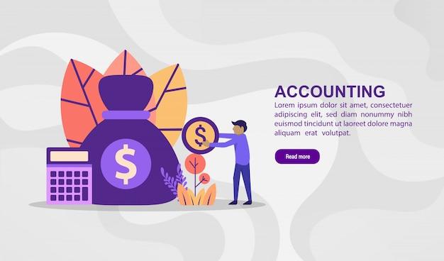 Vector ilustración concepto de contabilidad. ilustración moderna conceptual para plantilla de banner Vector Premium