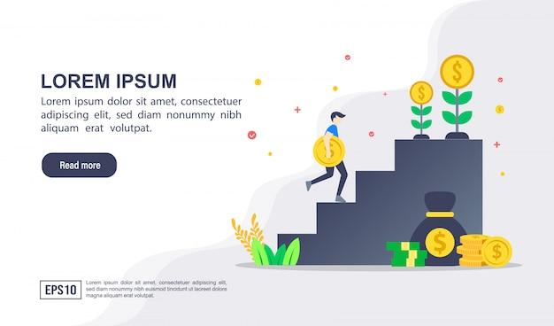 Vector ilustración concepto de inversión con carácter Vector Premium