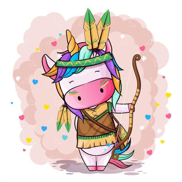 Vector ilustración dibujada a mano de un lindo unicornio Vector Premium