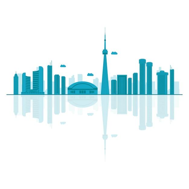 Vector ilustración de dibujos animados del horizonte de canadá. Vector Premium