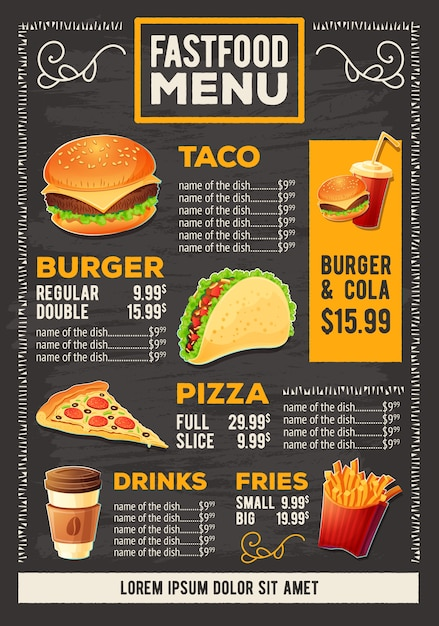 Vector ilustración de dibujos animados de un menú de restaurante de comida rápida de diseño vector gratuito