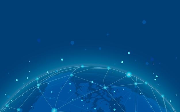 Vector de ilustración de fondo azul de conexión en todo el mundo vector gratuito