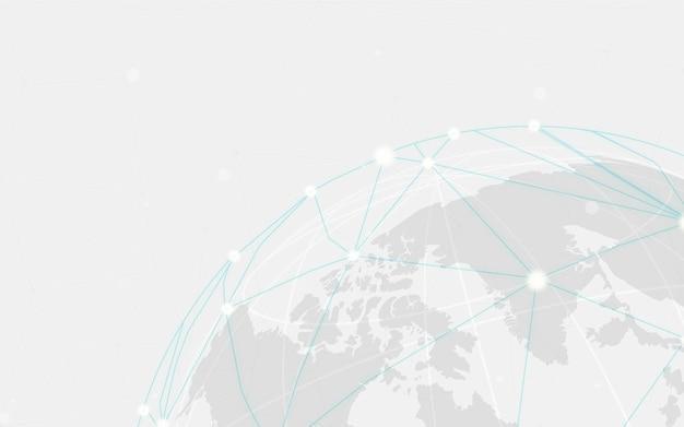 Vector de ilustración de fondo gris de conexión mundial vector gratuito