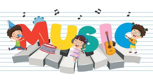 Vector ilustración de fondo de música de los niños Vector Premium