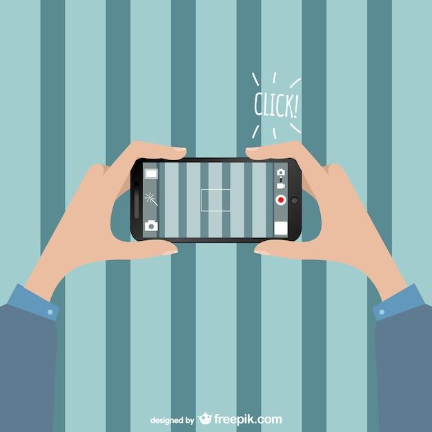 Vector ilustración de foto con smartphone vector gratuito