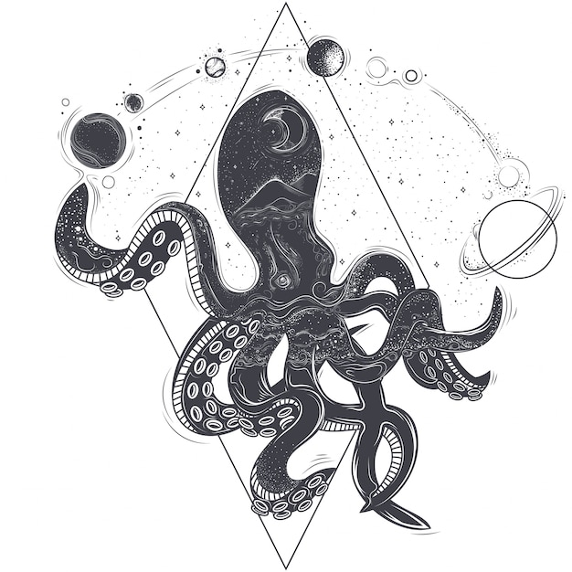 Vector ilustración geométrica de un pulpo y planetas cósmicos vector gratuito