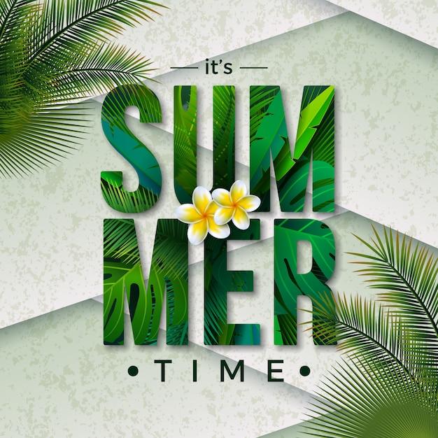 Vector ilustración de horario de verano con letra de tipografía y hojas de palmeras tropicales vector gratuito