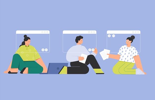 Vector ilustración de moda un grupo de amigos de personas que se encuentran con la llamada de videoconferencia en línea. Vector Premium