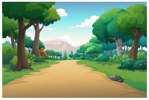 Vector ilustración montaña y cielo color brillante Vector Premium