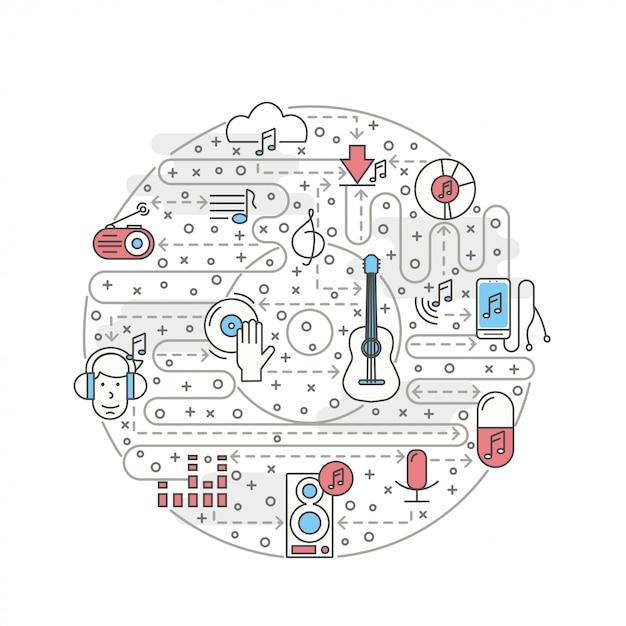 Vector ilustración de música de arte de línea delgada Vector Premium