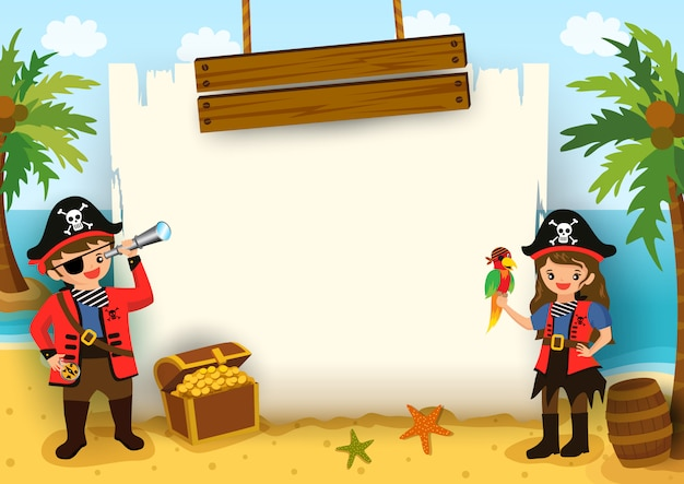 Vector de ilustración de niño y niña pirata con marco de mapa en el fondo de la playa. Vector Premium