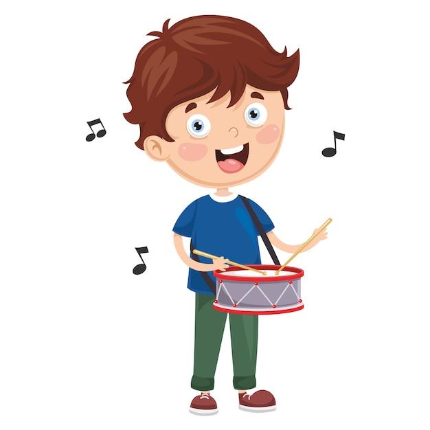 Vector ilustración de niño tocando tambor Vector Premium