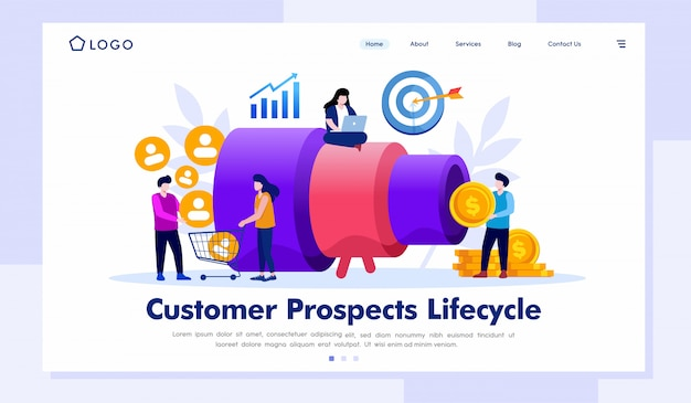 Vector de ilustración de página de destino de ciclo de vida de clientes potenciales Vector Premium