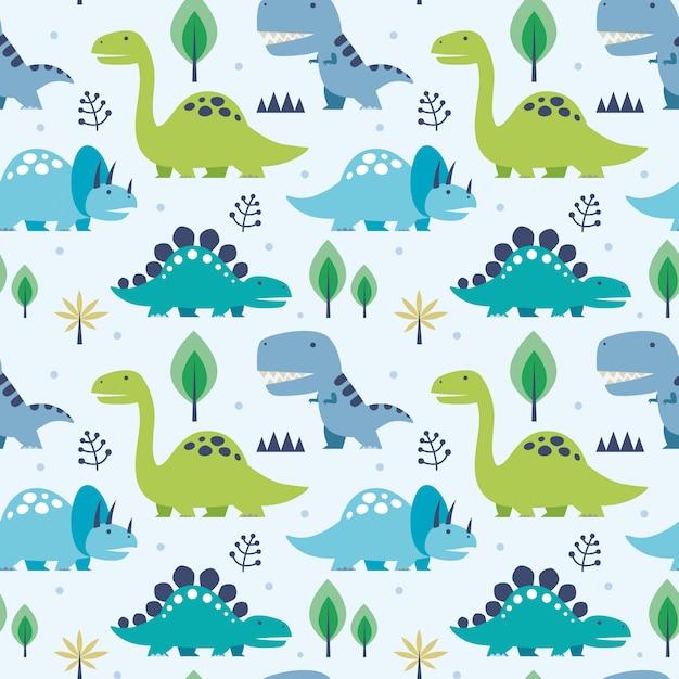 Vector ilustración de patrones sin fisuras con dinosaurios Vector Premium