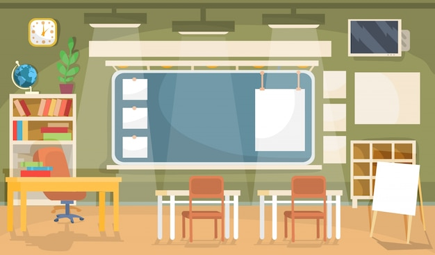 Vector ilustración plana de un aula vacía en una escuela, universidad, colegio, instituto vector gratuito
