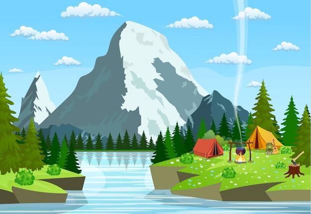 Vector ilustración plana camping. Vector Premium
