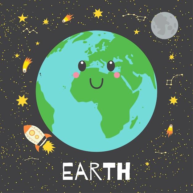 Vector Ilustración Planeta Tierra En Estilo Retro De Dibujos