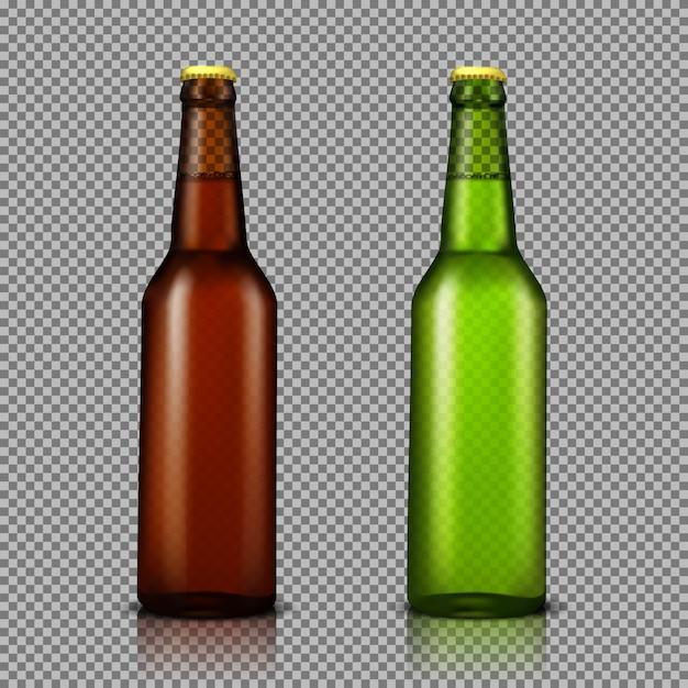 Vector ilustración realista conjunto de botellas de vidrio transparente con bebidas, listo para la marca vector gratuito