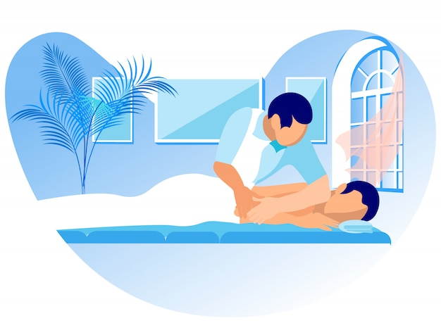Vector ilustración rehabilitación masaje de dibujos animados Vector Premium