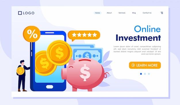 Vector de ilustración de sitio web de página de destino de inversión en línea Vector Premium