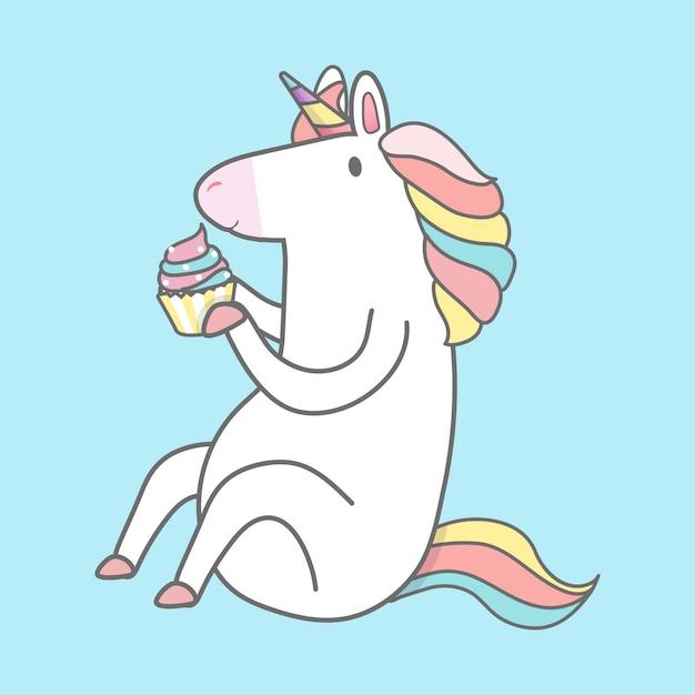 Vector de ilustración de unicornio mágico del arco iris vector gratuito