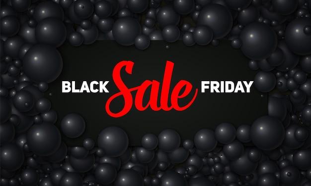 Vector ilustración de venta de viernes negro de tarjeta negra colocada en perlas negras o esferas vector gratuito