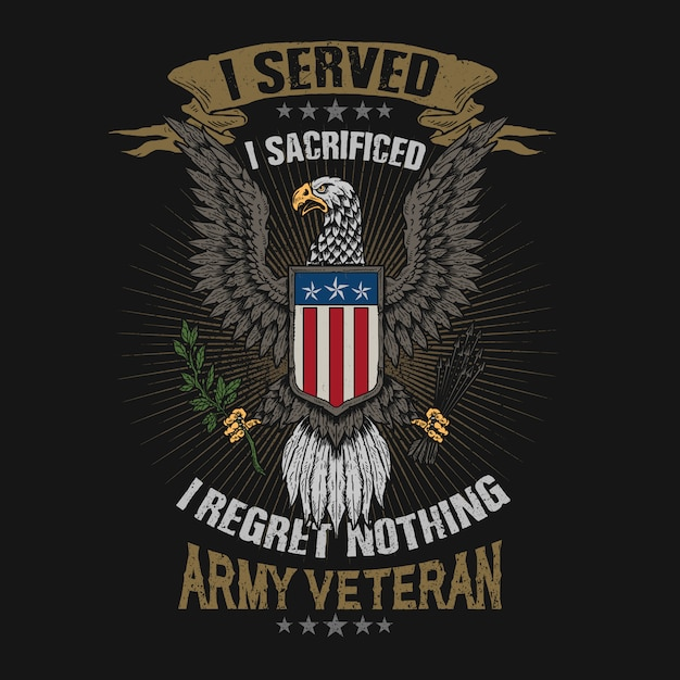 Vector de ilustración de veterano de emblema de águila americana Vector Premium