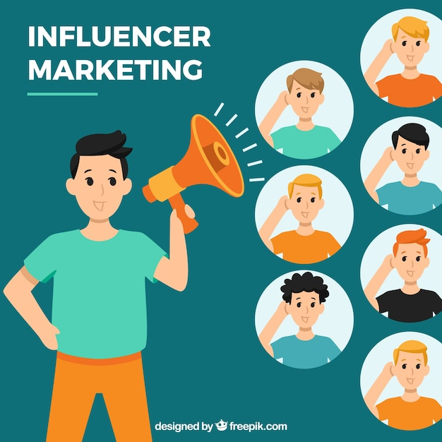 Vector de influencer marketing con gente escuchando vector gratuito