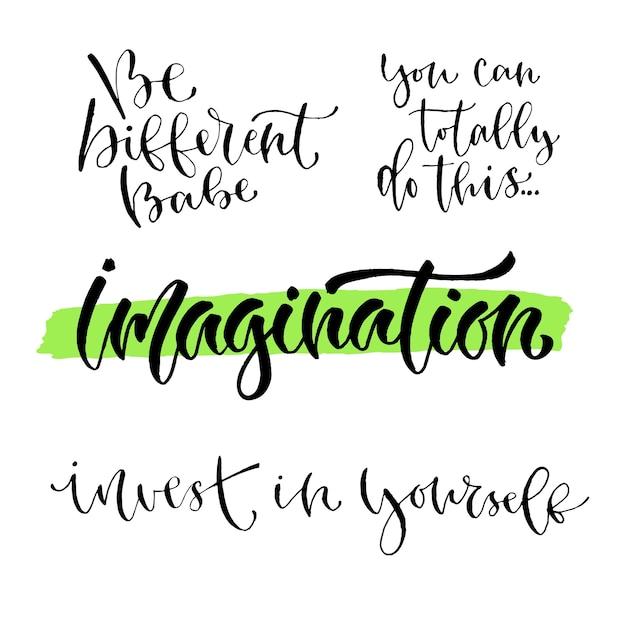 Vector inspirador conjunto de caligrafía. impresiones modernas con ...