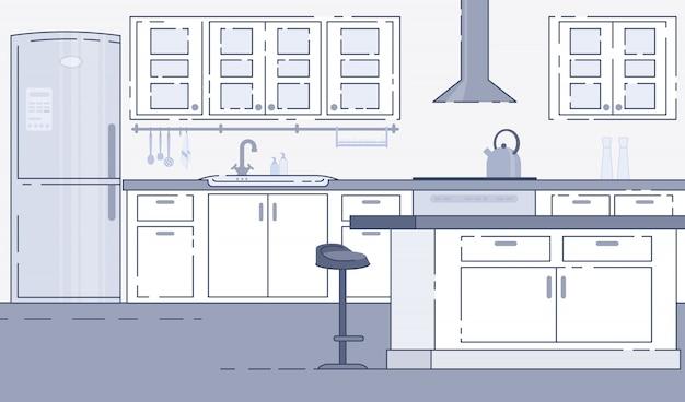 Vector interior espacioso cocina moderna Vector Premium