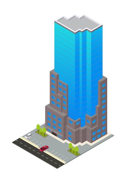 Vector isométrico hotel, apartamento o edificio de rascacielos Vector Premium