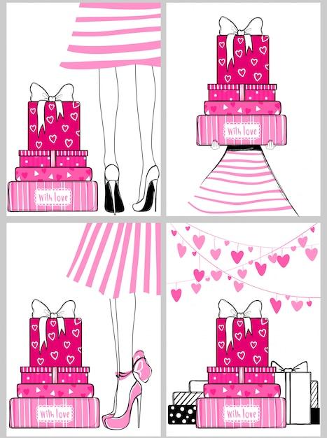 Vector kit de moda tarjetas de felicitación románticas Vector Premium