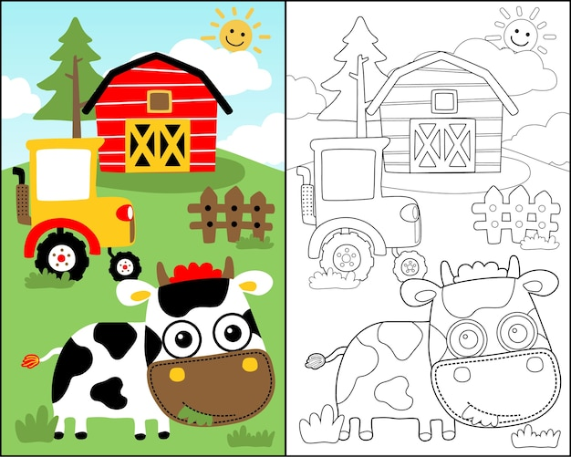 Vector De Libro Para Colorear Con Dibujos Animados Lindo De Vaca En
