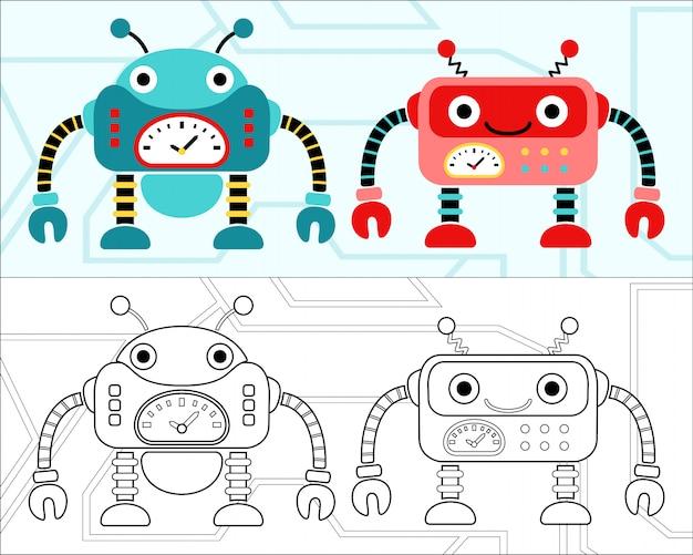 Vector de libro para colorear con dibujos animados de robots ...