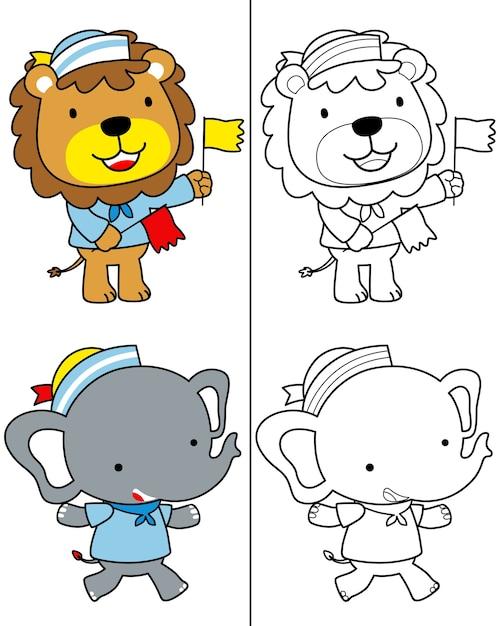 Vector de libro para colorear con divertidos dibujos animados de ...