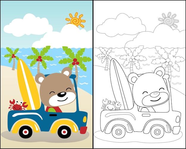 Vector de libro para colorear con lindos animales en coche ...
