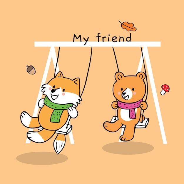 Vector Lindo Amistad Fox Y Oso De Dibujos Animados Descargar