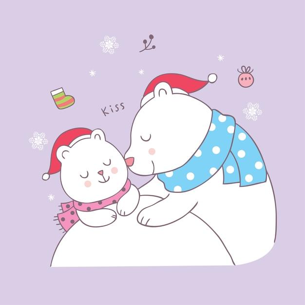 Vector lindo del beso del oso polar de la mamá y del bebé de la navidad de la historieta. Vector Premium