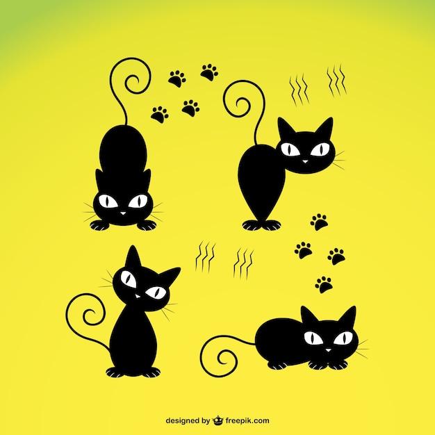 Vector Lindo Gato Negro Descargar Vectores Gratis