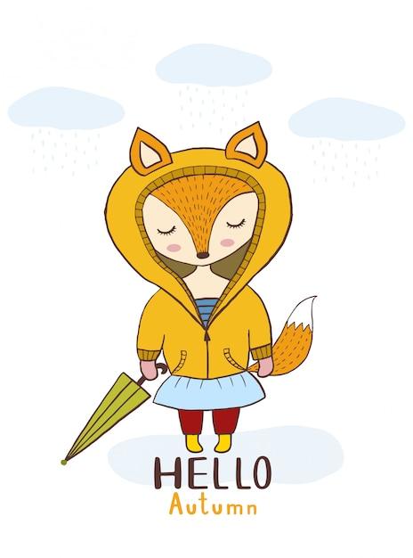 Vector lindo de la historieta pequeña muchacha del zorro con otoño del paraguas y de la nube hola. Vector Premium