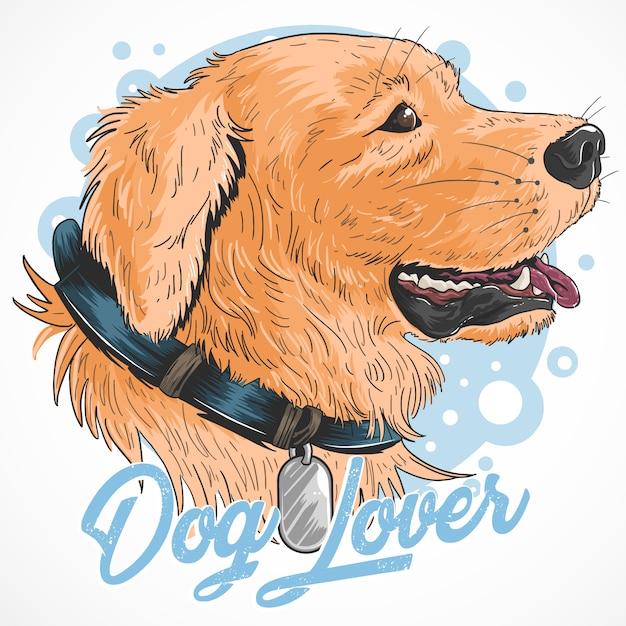 Vector lindo de la ilustración de oro del perro Vector Premium