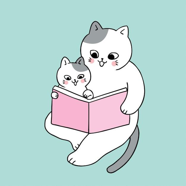 Vector lindo del libro de lectura del gato del papá y del bebé de la historieta. Vector Premium